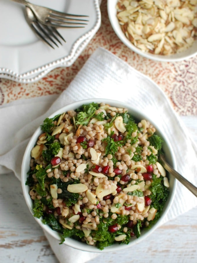 Kale Couscous Pomegranate Salad - healthy lunch