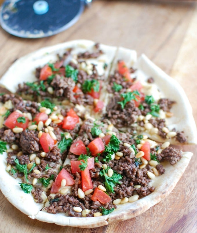 Spiced Beef and Hummus Pita Pizza  above