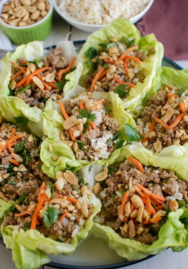 Thai Turkey Brown Rice Lettuce Wraps with carrots