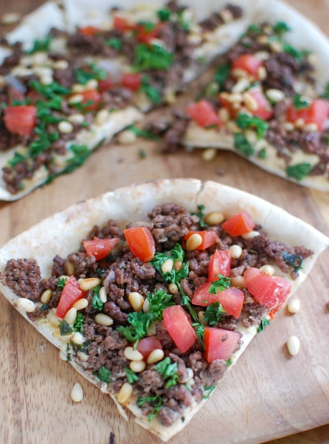 Spiced Beef and Hummus Pita Pizza sliced