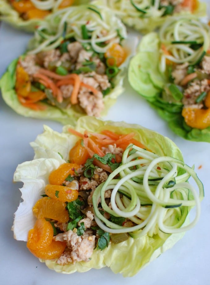 Asian Chicken Zoodle Lettuce Wraps - celebrate Chinese New Year