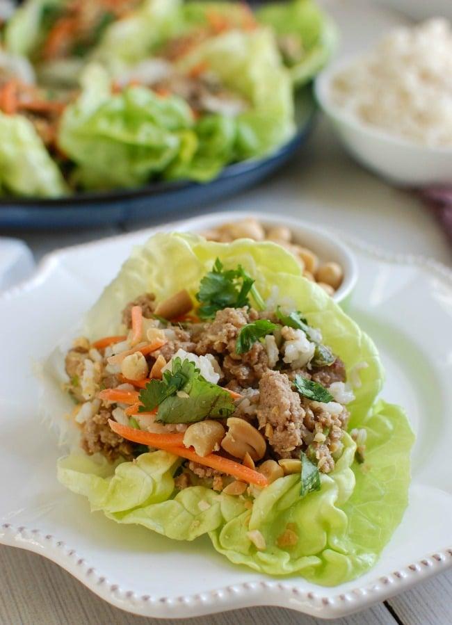 Thai Turkey Brown Rice Lettuce Wraps - lunch