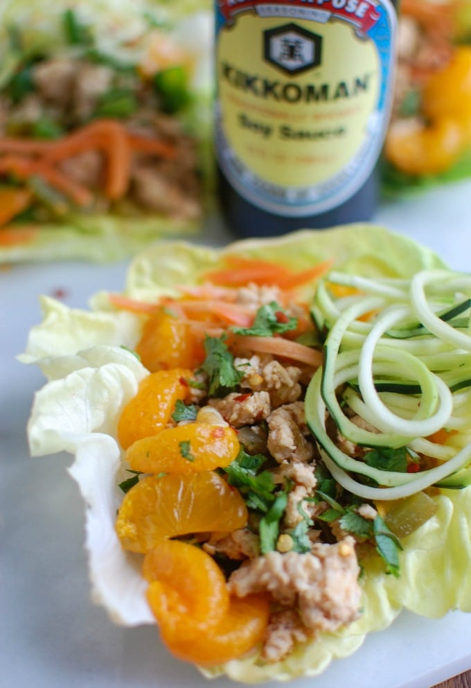 Asian Chicken Zoodle Lettuce Wraps - dinner