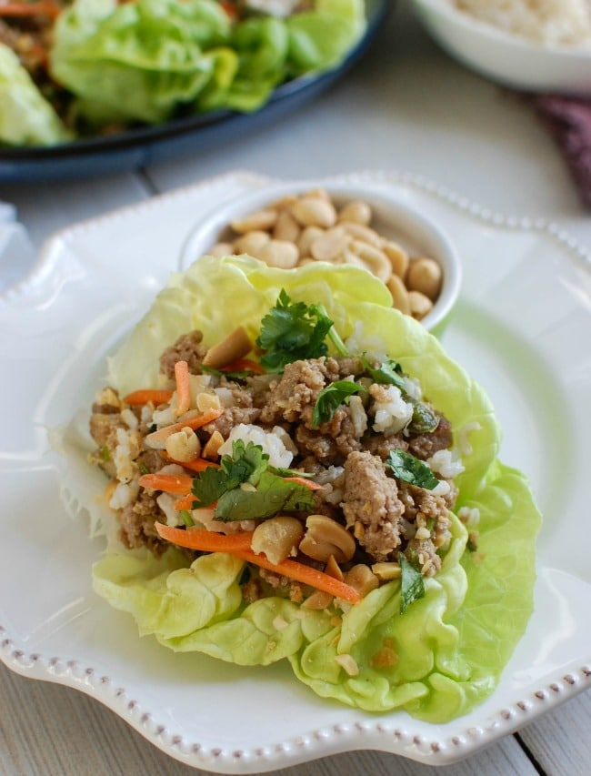 Thai Turkey Brown Rice Lettuce Wraps on white plate