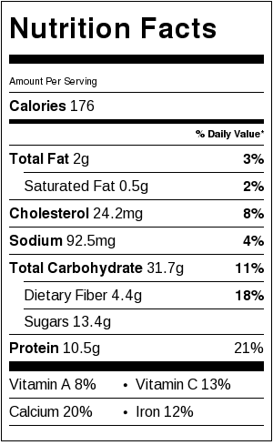 Baked Blueberry Banana Steel Cut Oatmeal - nutritional information