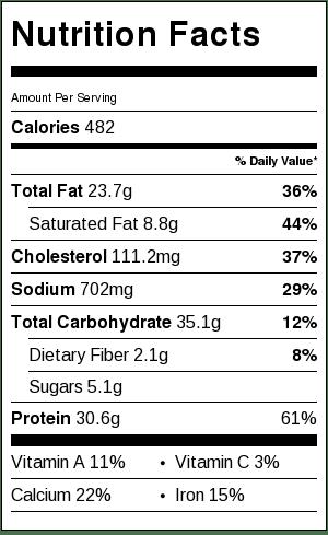 One Pot Enchilada Pasta - nutritional information