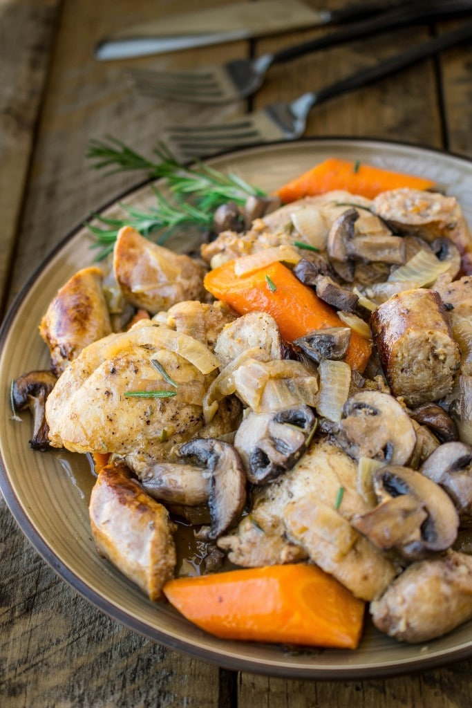 Slow Cooker Rosemary Chicken, Sausage and Mushrooms // Culinary Ginger