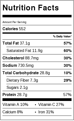 Spiced Beef and Hummus Pita Pizza - nutritional information