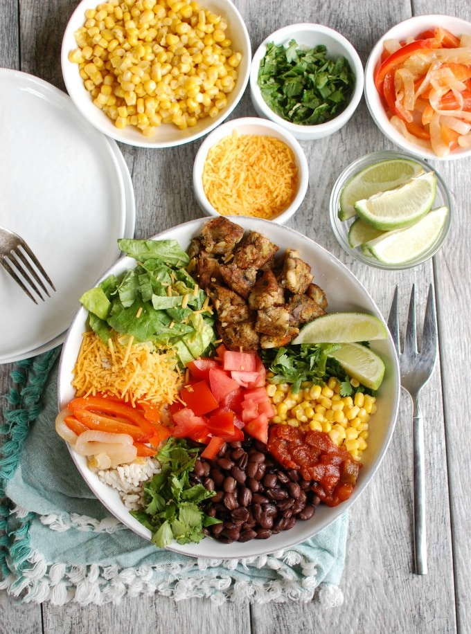 Burrito Bowls with Heirloom Bean Veggie Burgers - healthy