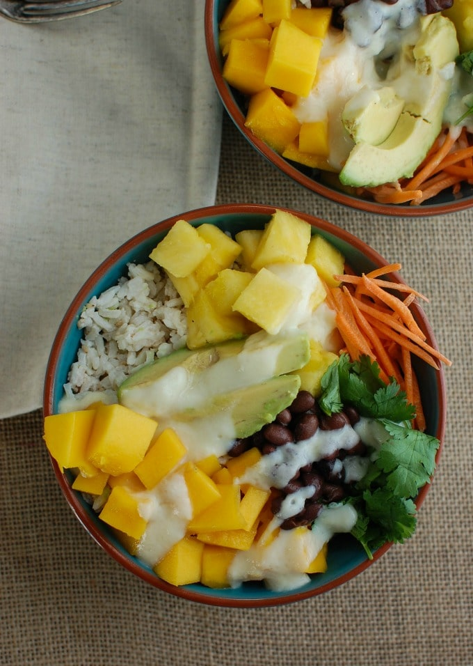 Tropical Coconut Rice Bowl - a healthy lunch