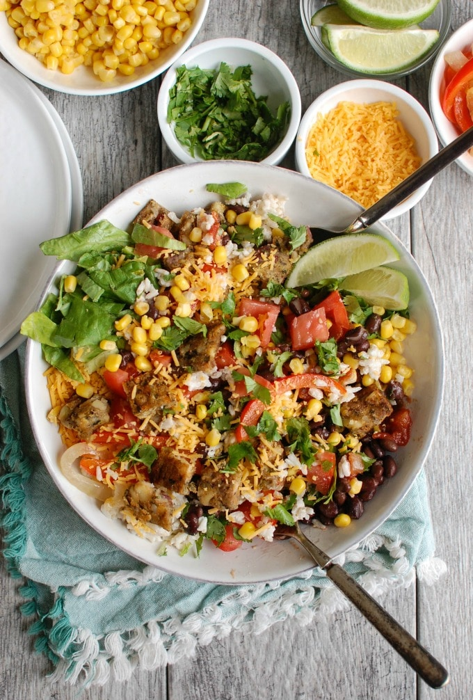 Burrito Bowls with Heirloom Bean Veggie Burgers - healthy vegetarian meal