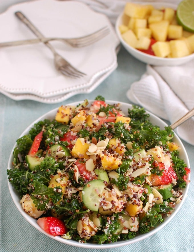 Tropical Kale Quinoa Salad - A Cedar Spoon