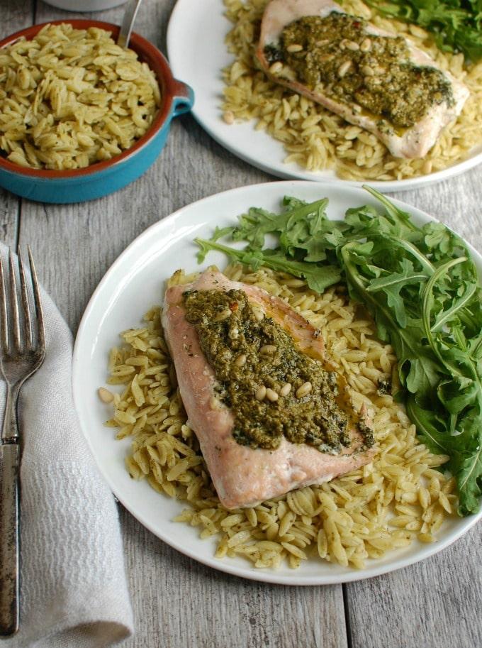 Pesto Salmon with Parmesan Pesto Orzo - healthy dinner