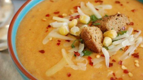 Slow Cooker Cheesy Potato Corn Chowder - comfort food