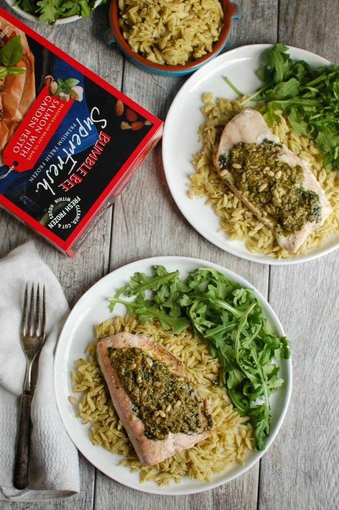Pesto Salmon with Parmesan Pesto Orzo - easy dinner idea