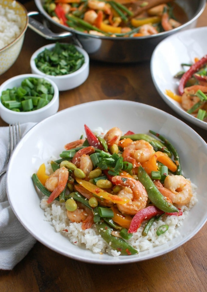 Asian Shrimp Edamame Stir-Fry - heart healthy
