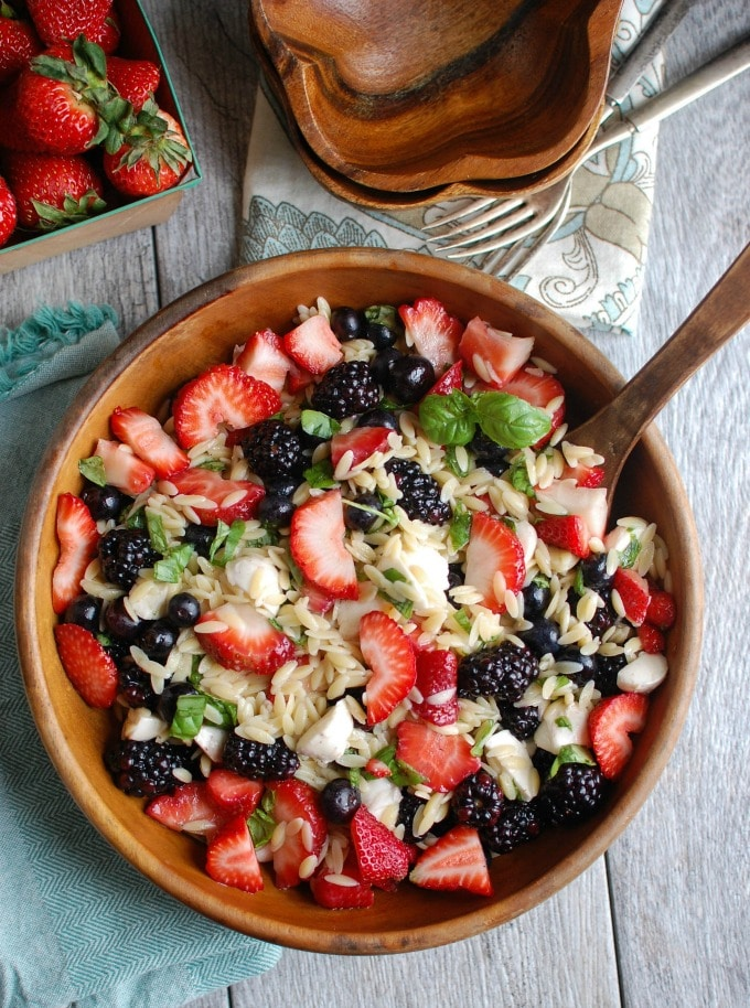 Mixed Berry Caprese Orzo Salad - so good