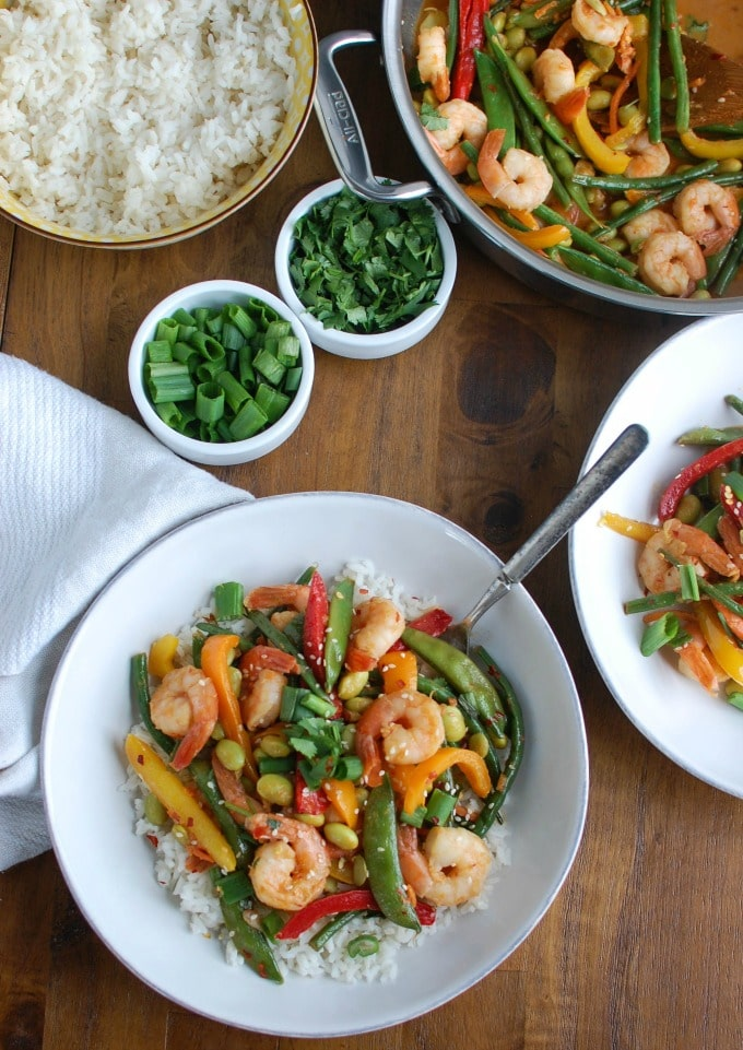 Asian Shrimp Edamame Stir-Fry - healthy dinner