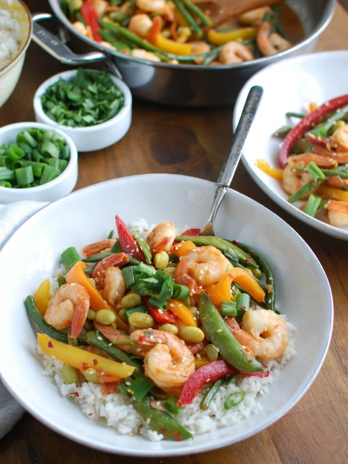 Asian Shrimp Edamame Stir-Fry - dinner