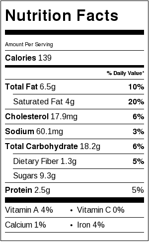 Oatmeal Scotchies - nutritional information