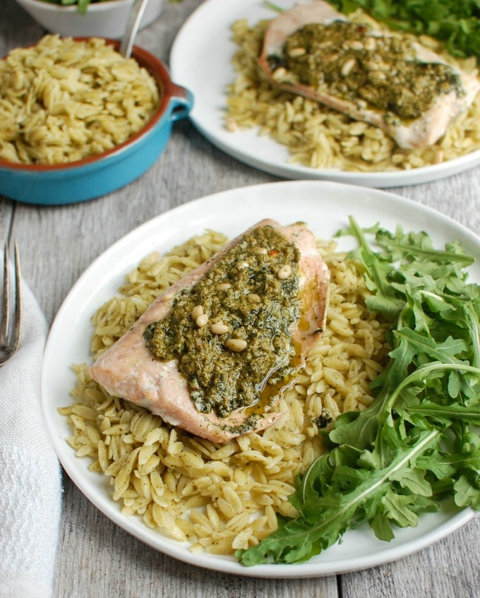 Pesto Parmesan Salmon with Parmesan Pesto Orzo - dinner