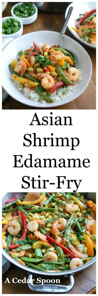 Asian Shrimp Edamame Stir-Fry - eat the rainbow of colors