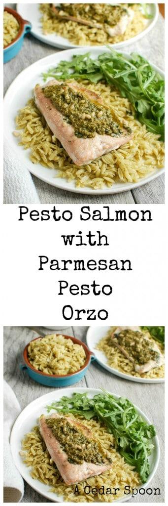 Pesto Salmon with Parmesan Pesto Orzo - healthy meal
