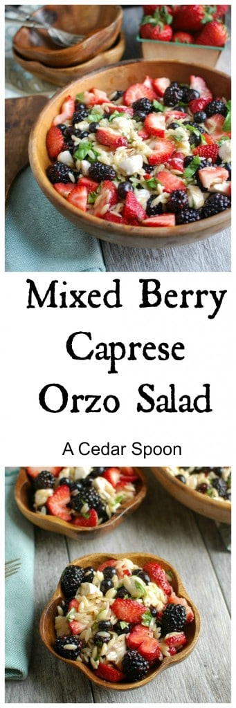 Mixed Berry Caprese Orzo Salad- healthy lunch