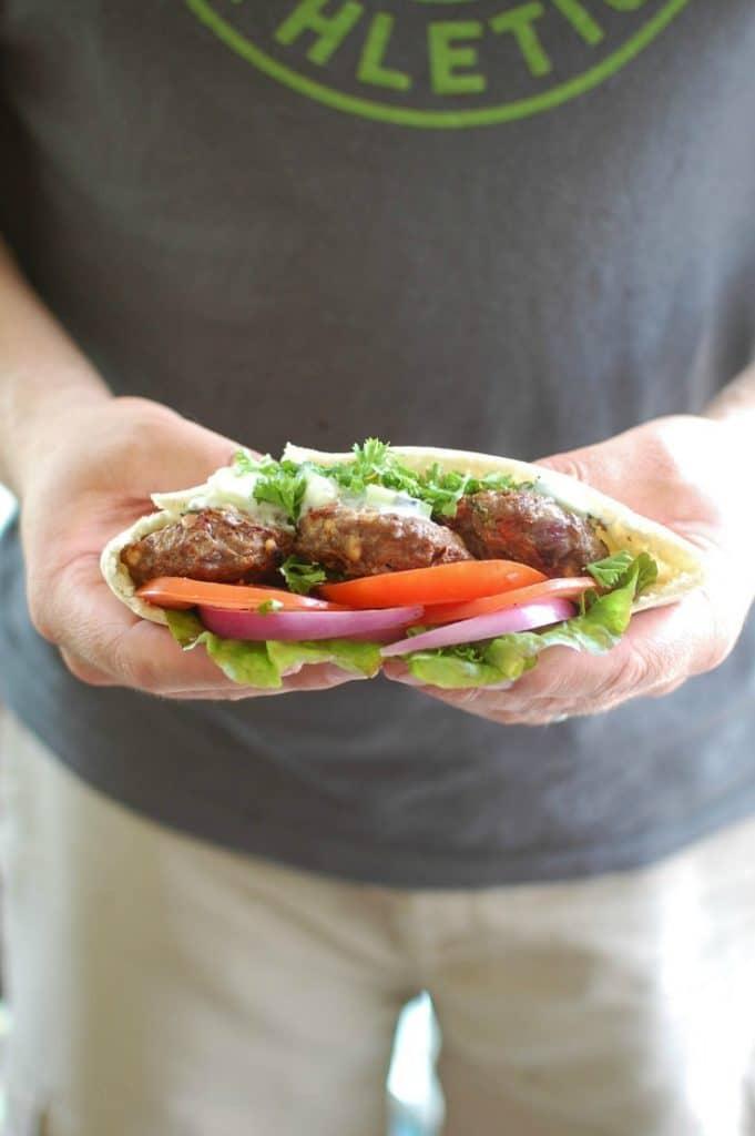 Mediterranean Burger with Mint Yogurt Sauce - the best