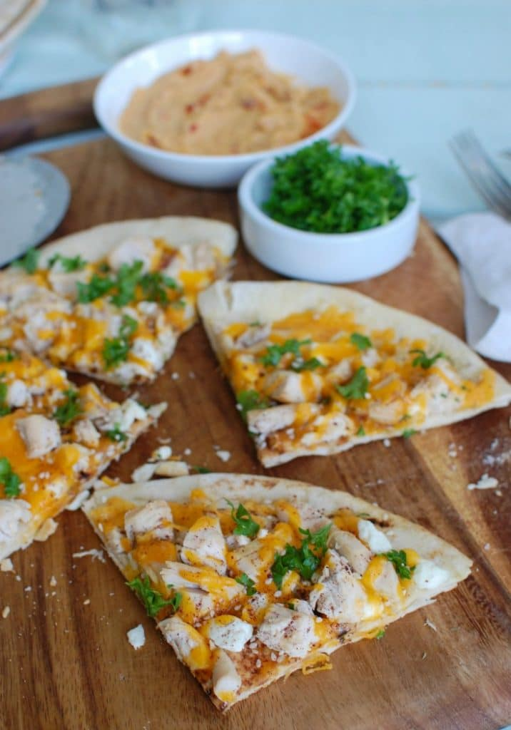 Chicken Feta Cheddar Pita Pitza - quick and easy dinner