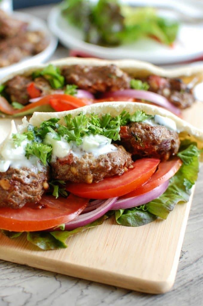 Mediterranean Burger with Mint Yogurt Sauce - dinner
