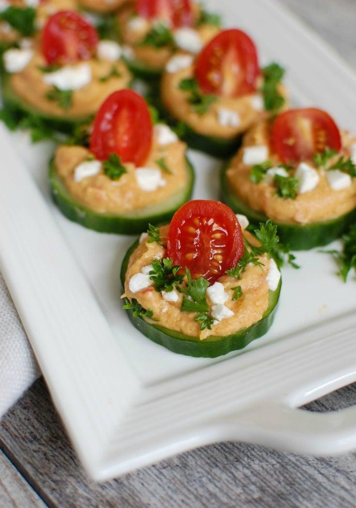 Cucumber Hummus Bites with feta