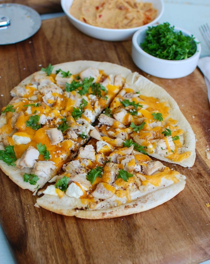 Chicken Feta Cheddar Pita Pizta - dinner