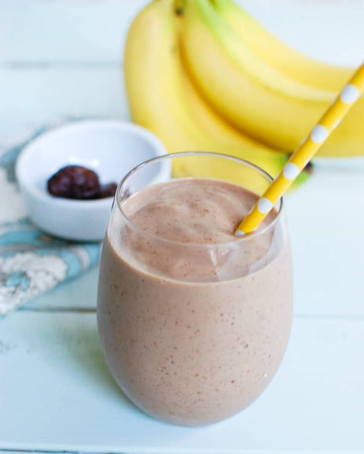 Banana Date Smoothie with straw