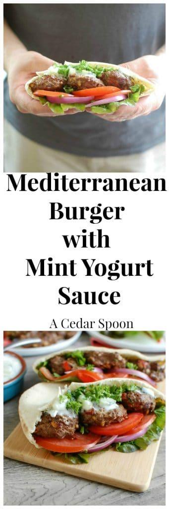 Mediterranean Burger with Mint Yogurt Sauce - I love this burger!