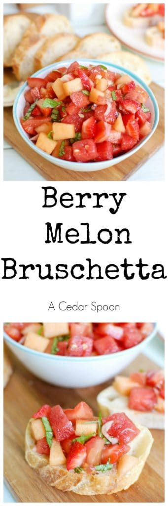Berry Melon Bruschetta mixes your favorite summer flavors. This is the perfect appetizer.