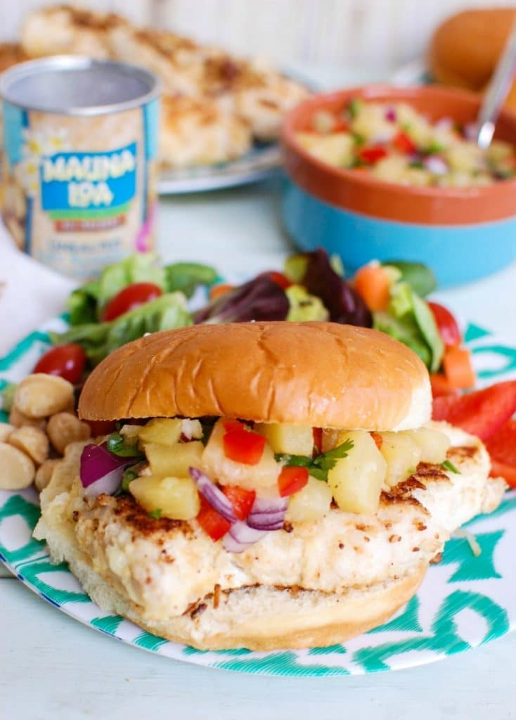 Macadamia Coconut Crusted Chicken with Pineapple Salsa make the perfect fresh, summer meal. This is a nice backyard get together meal!