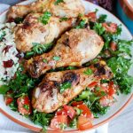 Mediterranean Chicken with Basmati Rice is a healthy, delicious meal. The chicken is marinated in a yogurt sauce!