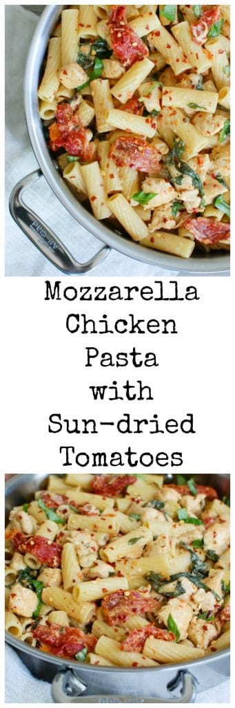 Mozzarella Chicken Pasta with Sun-dried Tomatoes is a flavor packed meal. This comes together in no time and the family will love it.