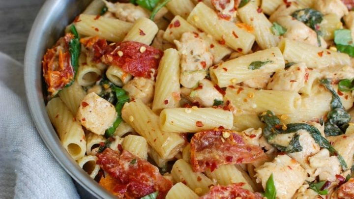 Mozzarella Chicken Pasta with Sun-dried Tomatoes is an easy and delicious meal! We love this one.