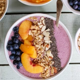 Peach Blueberry Smoothie Bowl is my favorite way to start the day. Rich with milk, yogurt and fruit it is satisfying.