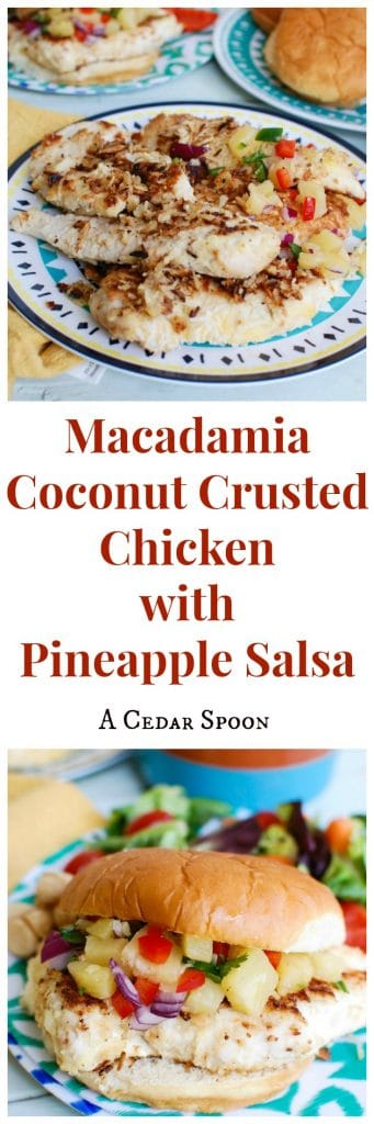 Macadamia Coconut Crusted Chicken with Pineapple Salsa is light, fresh and delicious. My favorite meal!