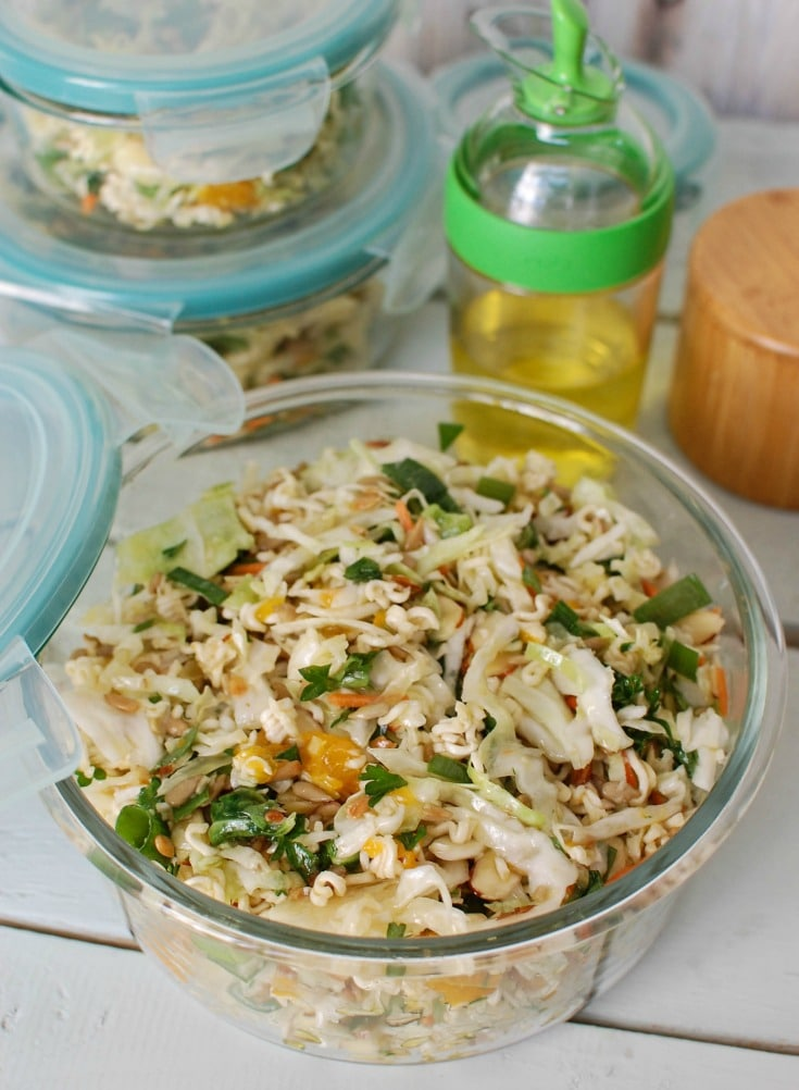Asian Ramen Noodle Salad is an easy, healthy salad. Perfect for a picnic or BBQ.