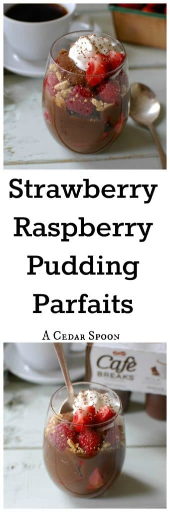 Strawberry Raspberry Pudding Parfaits are the perfect treat! Simple and easy for the on-the-go!