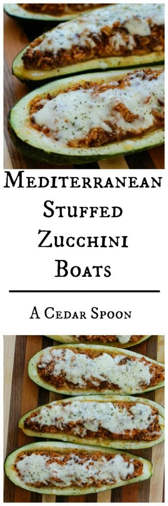 Mediterranean Zucchini Boats are a delicious summer dinner. Garden zucchini is stuffed with a rice and meat mixture.