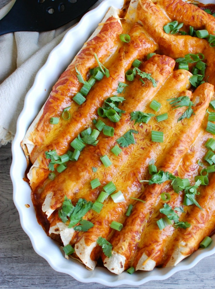 Vegetarian Black Bean Enchiladas with fresh herbs