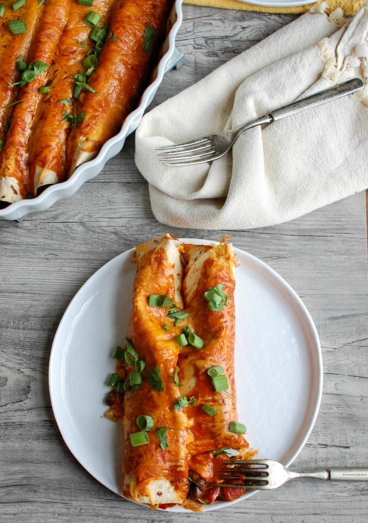 Vegetarian Enchiladas Recipe with fork.