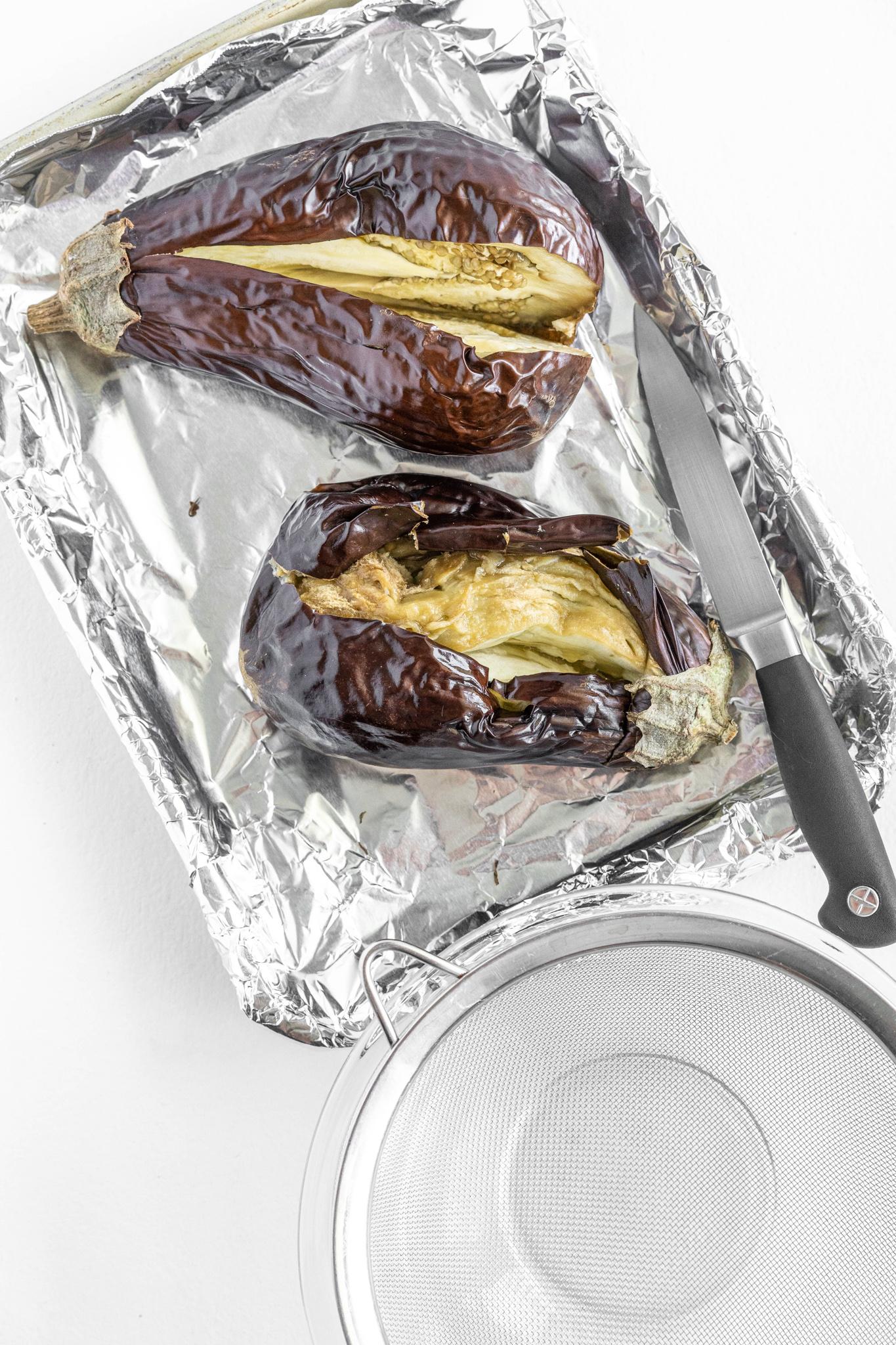 Baba Ghanoush roasted eggplant.