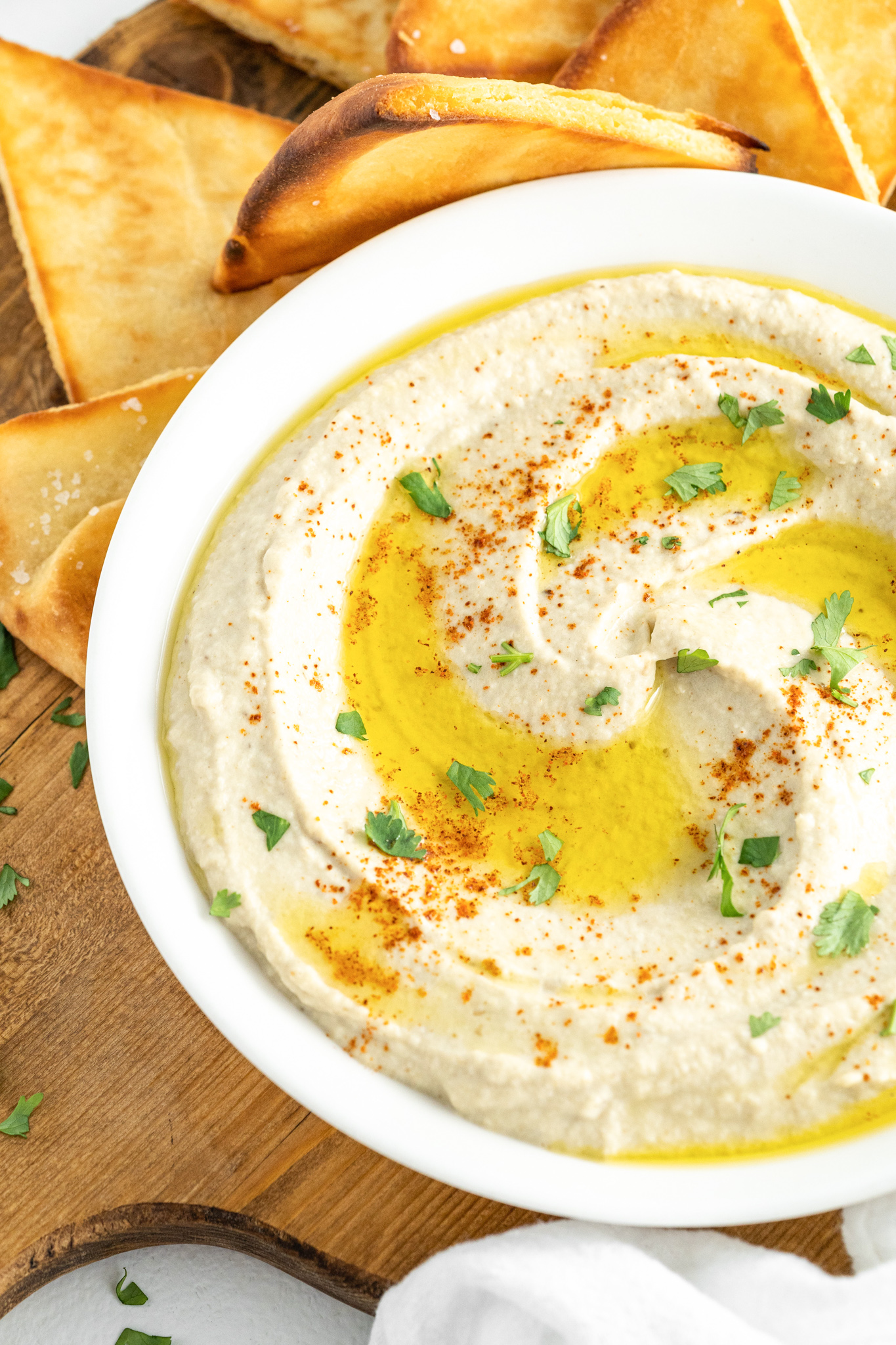 Baba Ghanoush with parsley.