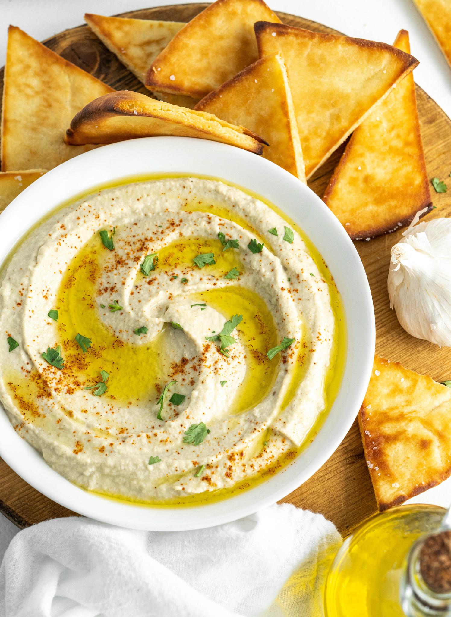 Baba Ghanoush in a white bowl.